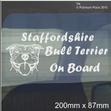 1 x Staffordshire Bull Terrier Dog On Board Sticker-Car,Van,Truck-Staff Staffy Window Sign